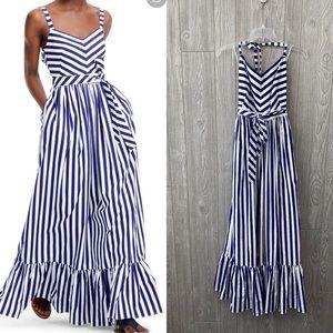 J Crew Stripe Ruffle Cotton Maxi Dress